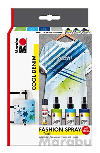 Marabu 1719000000084 - Fashion Spray, Cool Denim, Textilsprühfarbe auf Wasserbasis, für helle Textilien, einfache Fixierung, waschbeständig bis 40°C, 3 x 100 ml Farbe und 25 ml Fashion Liner