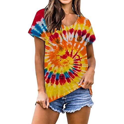 SLYZ Mujeres Europeas Y Americanas Verano Degradado Tie-Dye Impresión Digital Verano Suelta Camiseta De Gran Tamaño Top De Manga Corta