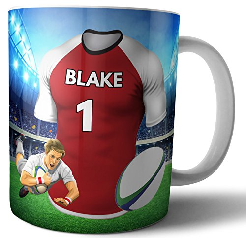 Personalisierbare Tasse für Tee, Kaffee, Rugby-Shirt, The Sunwolves Farben