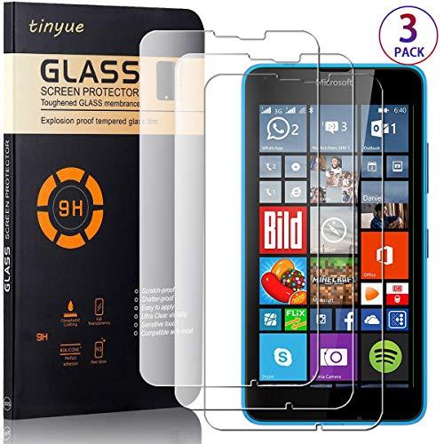 tinyue [3 Pezzi Trasparente Vetro Temperato, Pellicola di Vetro a Prova di Esplosione di durezza 9H, Screen Protector HD Alta Trasparenza per Microsoft Lumia 640 XL/Nokia 640 XL