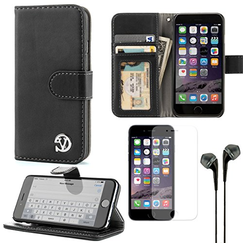 VG Self Stand Mary Series Wallet Case for Apple iPhone 6 (Black) and Earphones and Screen Protector - http://coolthings.us