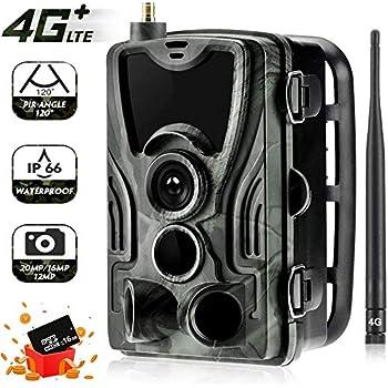 Suntekcame Caméra de jeu 4G 3G 20 MP 1080p avec vision nocturne infrarouge 2,4 pouces avec écran LCD IP65 étanche pour la sécurité extérieure et la maison HC-801LTE-PLUS
