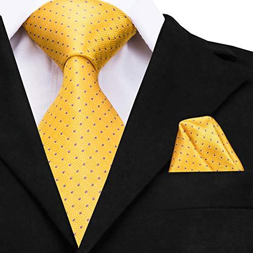 WOXHY Herren Krawatte Krawatte Gold Seidenkrawatte Gelbe Punkte Große Krawatten Für Männer Hohe Qualität Hand Jacquard Gewebt Krawatte 160 cm Cz-009