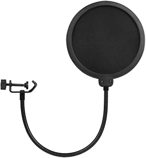 Microphone Pop Filter, Studio Microphone Pop Shield Dual Layered Wind Pop Screen With Flexible 360° Gooseneck Clip Stabili...