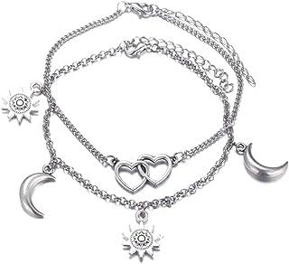 2 pezzi set cavigliera donna amore sole luna argento cavigliere ragazza braccialetto regolabile femminile