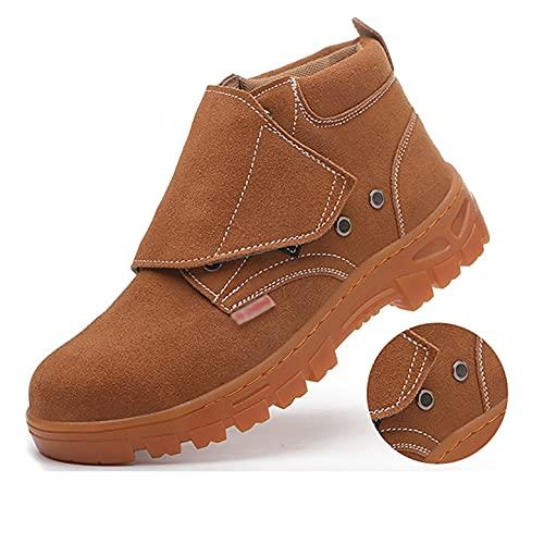 Zapatos de trabajo Botas de seguridad de soldadura para hombres soldadoras - Ajuste de gamuza y malla, tapa de punta de acero y entresuela de acero, con suela de goma 100% - Ideal para caminar y sende