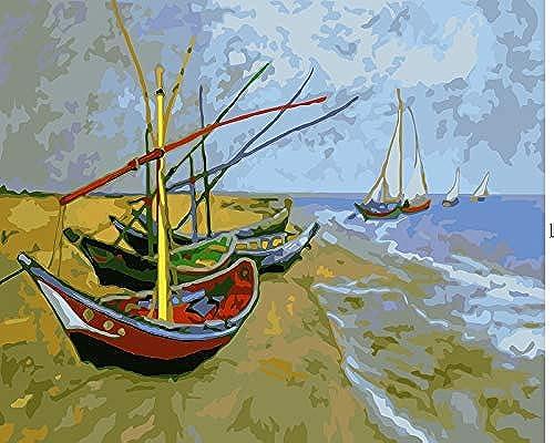 descuento de ventas KYKDY Pintura al óleo óleo óleo de gran tamaño de Van Gogh Imagen enmarcada por números Paisaje abstracto Arte de la parojo de la lona digital DIY, 40x50 cm con marco  Garantía 100% de ajuste