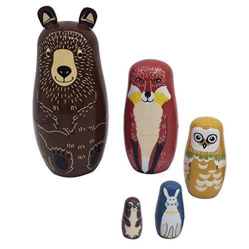 Homyl Traditionelle Russische Holzpuppen Tierfigur Matroschka Matruschka Babuschka Spielzeug - Bären, 5 Stück