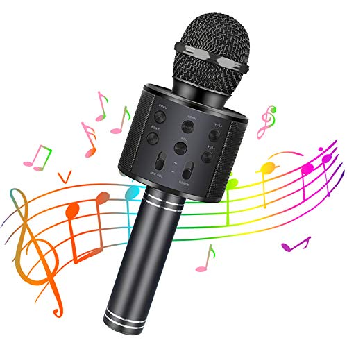 Henkelion Wireless Bluetooth Karaoke Microphone for Kids, Kids Karaoke Machine Portable Handheld Mic Speaker Toy Home Party Birthday Graduation for iPhone Android iPad All Smartphone - Rose Gold