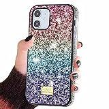Reaky Estuche para iPhone 12, Diamante brillante de cristal brillante para niñas y mujeres, Estuche para teléfono con purpurina para iPhone 12/12 Pro 6.1 pulgadas - Arco iris