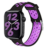 SKYLET Compatible with Apple Watch Bands 44mm 42mm 40mm 38mm Men Women, Sport Silicone Replacement Breathable Wristband Compatible with Apple Watch Series 6 5 4 3 2 1 se with Metal Clasp Black-Purple