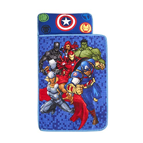 Idea Nuova Marvel Avengers Super Soft Toddler Quilted Nap Mat with Built in Pillow,26'' x46, Multicolor