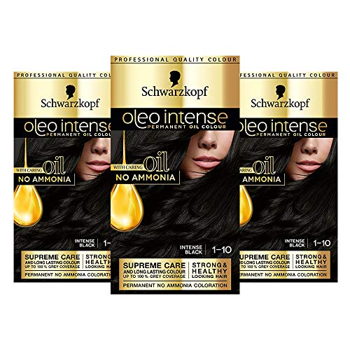 Schwarzkopf Oleo Intense Black Haarfarbe, 3er Pack Permanente Ölfarbe, ohne Ammoniak, Deckt Grau ab, Intense Schwarz 1-10