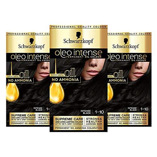 Schwarzkopf Oleo Intense Black Hair Dye, 3-Pack Permanent Oil Colour, No...