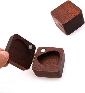 MUPOO Guitar Picks Holder, Wooden Square Box for Picks Storage