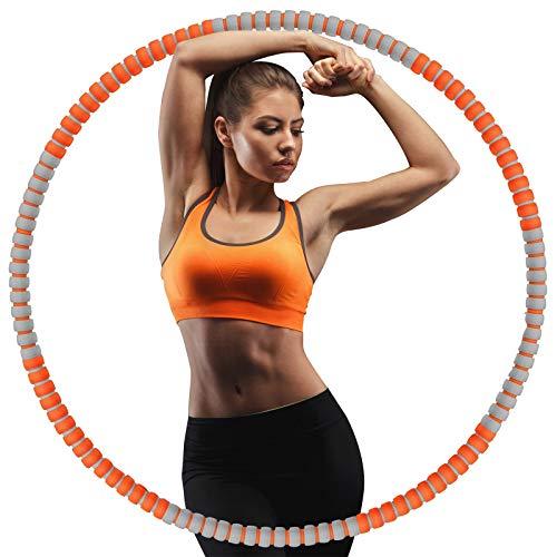 KINGFIT Hula Hoop Reifen Erwachsene aus Edelstahl-Innenrohr丨8 Abschnitte Abnehmbar Design丨Hula Hoop Gewicht 1 kg Durchmesser 90 cm (Orange+Grau)