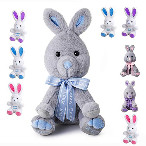GSUIVER Easter Bunny Rabbit Stuffed Animal Plush Toy 9 inches Best Gifts for Babies Kids Boys Girls Blue