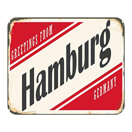 Gaming Mauspad mit Fotodruck Mousepad 220 x 180 mm Rutschfest Schwarz Fransenfreier Rand Präzision Retro Metropole Hamburg Deutschland bedruckt