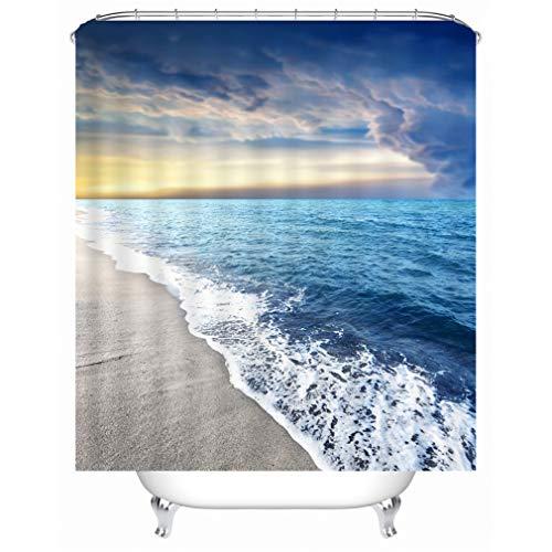 X-Labor Strand Motiv Duschvorhang Wasserdicht Stoff Anti-Schimmel inkl. 12 Duschvorhangringe Waschbar Badewannevorhang 240x200cm Muster-C