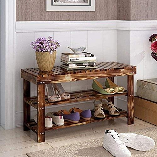 ZAIHW Zapatero Organizador para estantes de Madera Natural de 2 Pisos Taburete para Cambiar Zapatos (tamaño: 100)