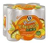 V8 V-Fusion +Energy Vegetable & Fruit Drink Orange Pineapple 48 FZ (Pack of 4)