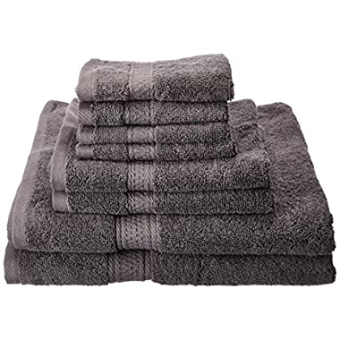 Premium 8 Piece Towel Set (Grey); 2 Bath Towels, 2 Hand Towels and 4 Washcloths - Cotton - Hotel Quality, Super Soft and Highly Absorbent by Utopia Towel