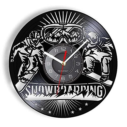 BBZZL Snowboard Reloj de Pared decoración Nieve montaña Deportes Gafas de esquí Equipo de esquí Vinilo Reloj de Pared LED Snowboard Regalo con LED