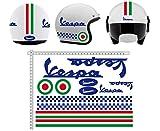 GamesMonkey Adesivi Casco Kit Vespa Blu Strisce Italia Helmet Vinile Lucido Assortiti in Vinile