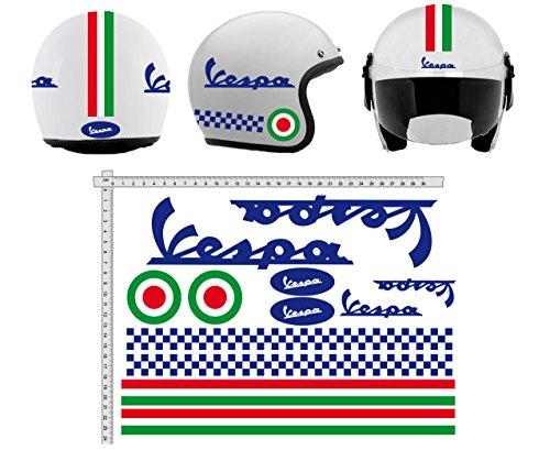 Pegatinas Casco Kit Casco Vespa Blu Azul Italia Vinilo Viny Pulido