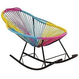 Chaises à bascule, chaises longues de jardin, inclinables, chaise longue d'extérieur dossier simple en rotin tissé creux…