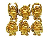 Vyanshi Handicraft Golden Baby Monk Buddha Laughing Statue for Home Office Feng Shui Decorative Showpiece Idol Gift (Set of 6)