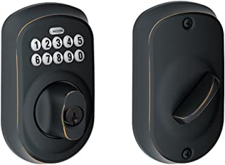 Schlage BE365PLY716 BE365 Plymouth Keypad Deadbolt, Aged Bronze