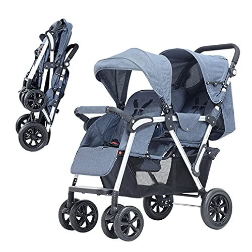 Double Stroller, Tandem Pushchair Foldable Lightweight, Double Convertible Pram Adjustable Height, Sun Hood for Twins or Siblings
