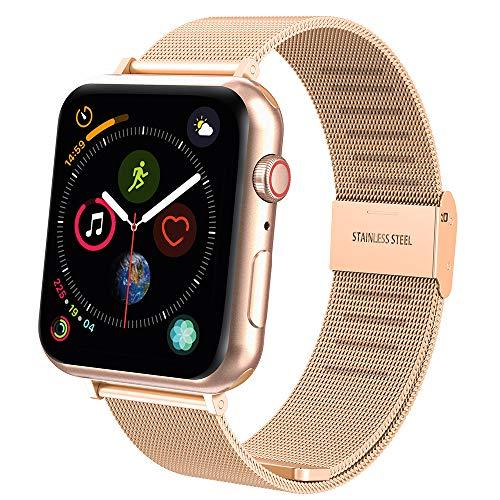 Hianjoo Cinturino Compatibile per Apple Watch 38mm/40mm, Cinturino di Ricambio in Acciaio Inossidabile con Fibbia in Metallo per Apple iWatch Serie 4/3/2/1 - Serie 3/4 Oro