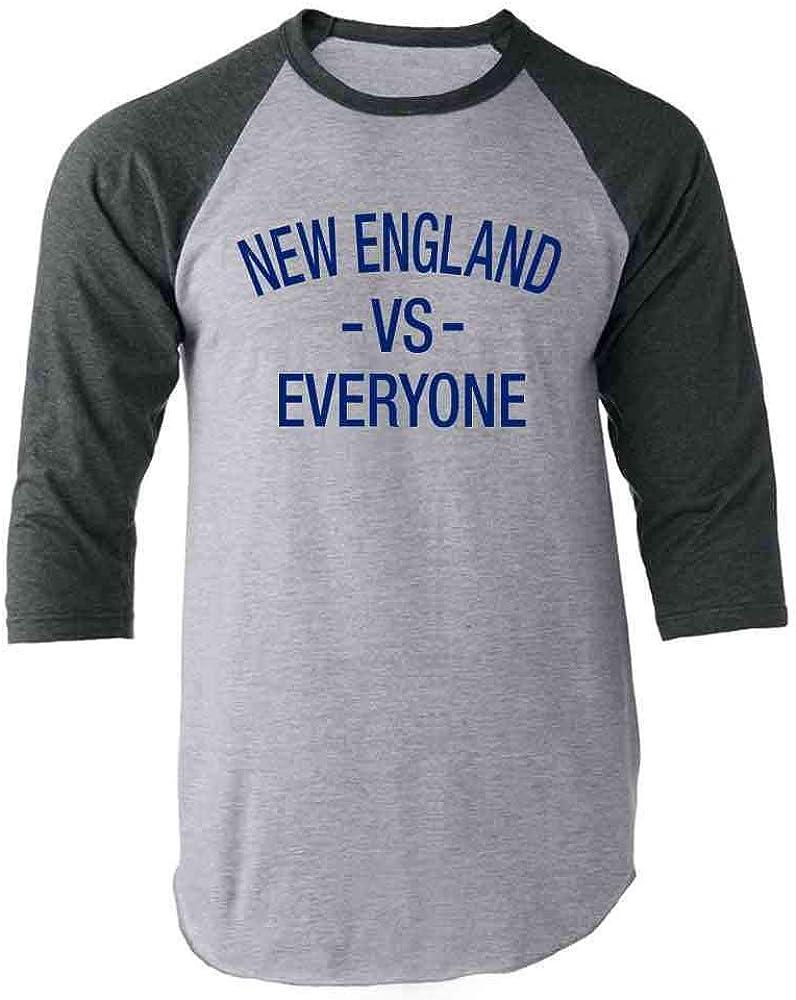 Pop Threads New England vs Everyone Sports Fan Gray 2XL Raglan Baseball Tee Shirt