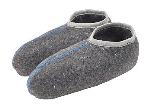 TippTexx 24 1 Paar warme Stiefelsocken Gummistiefelsocken mit Nässeschutz und ANTI-LOCH-GARANTIE für Damen, Herren u. Kinder (39/40, Grau mit Wolle - 1 Paar)