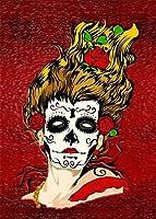 NC88 Diy 5Dダイヤモンドペインティングスカルパック番号キット大人用フルドリルクロスステッチクリスタルラインストーン刺繡写真アートクラフト家の壁の装飾ギフト12x16インチ(フレームレス)