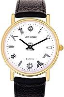 ブラックメンズレザーフリーメーソンの腕時計 - 白い顔クォーツスリム - ギフトボックス