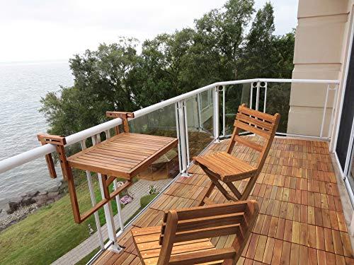 INTERBUILD Stockholm Mesa de terraza Plegable para balcón Ajustable FSC Madera de Acacia Color Dorado Teca
