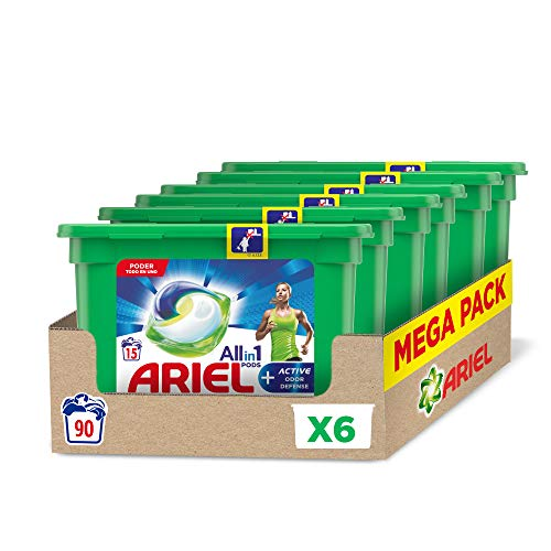 Ariel Allin1 Pods + Active wasmiddel in capsules, verwijdert slechte geuren, 90 wasbeurten, 6 verpakkingen, bij 20 °C en langdurige geur