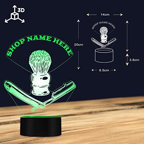 3D-Nachtlicht,Friseur Toolkit Custom Usb Nachtlicht Barber Rasiermesser Led Beleuchtet Display Barber Rasierpinsel Modern Mood Light, Touch Control
