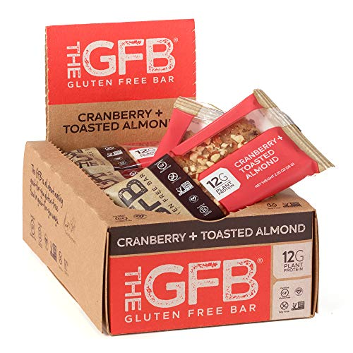 The GFB Gluten Free Protein Bars, Cranberry Toasted Almond, 2.05 Ounce (Pack of 12), Vegan, Dairy Free, Non GMO, Soy Free