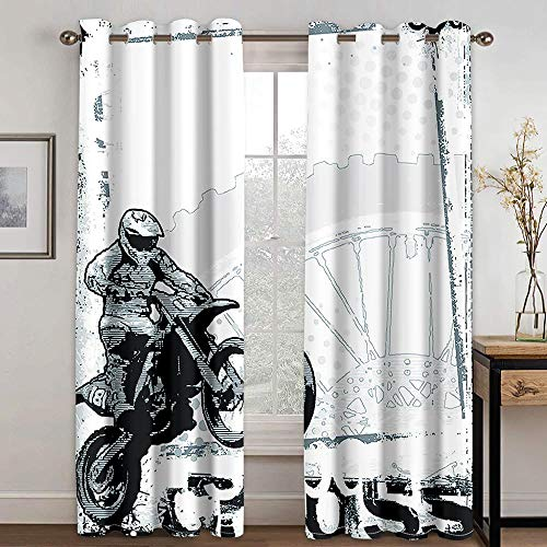 ZXDYLY Curtains Blackout 23x54 Inch 2 Panels Eyelet Curtains for Livingroom, Printed Curtain Room Darkening Bedroom, Grommet Panel Kitchen Window Curtain, Motorcycle