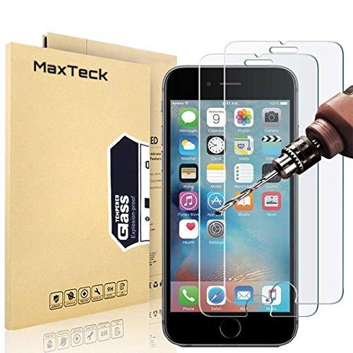 MaxTeck Verre Trempé pour iPhone 6S 6, Film Protection en Verre trempé Écran Protecteur Vitre- Anti Rayures - sans Bulles d'air -Ultra Résistant Dureté 9H - Compatible 3D Touch [3 Pièces]