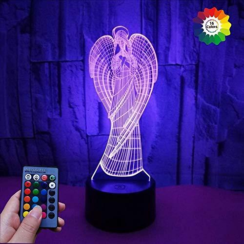 3D Engel Optical Illusions LED Lampen 7/16 Farbwechsel Fernbedienung Berühren Tabelle Schreibtisch-Nacht Licht Mit USB-Kabel für Kinder Schlafzimmer Geburtstagsgeschenke Geschenk