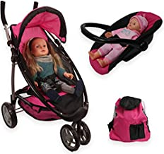 Mommy & Me Baby Doll Stroller Foldable Doll Jogger 2 in 1 Stroller and Infant Seat Carrier with Basket, Swiveling Wheels and Free Carriage Bag