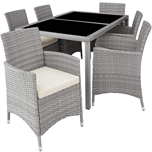 TecTake 800325 - Poly Rattan Sitzgruppe, 6 Stühle mit Sitzkissen, 1 Tisch mit 2 Glasplatten, inkl. Schutzhülle - Diverse Farben - (Hellgrau   Nr. 403704)