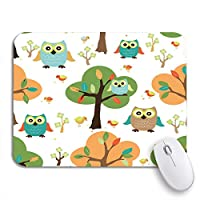 Mabby マウスマット - 240 x 200mm,Animal Cute Owl in The Forest Pattern Baby Bird,for Office and Gaming,Computer Mousepad Non-Slip Rubber Base