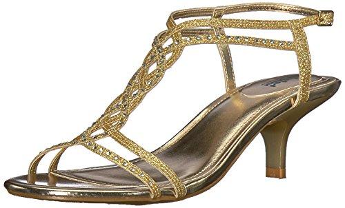 Unlisted by Kenneth Cole Women's Kind GAL 7 Kitten Heel Glitzy Sandal Wedge, Gold, 10 M US