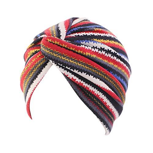 TININNA Coton Fleur Turban Chapeau Doux Foulard Bonnet Bandana Écharpe Couvre-Chef pour Chimio Alopécie Chute de Cheveux Chimiothérapie Casquette Rouge